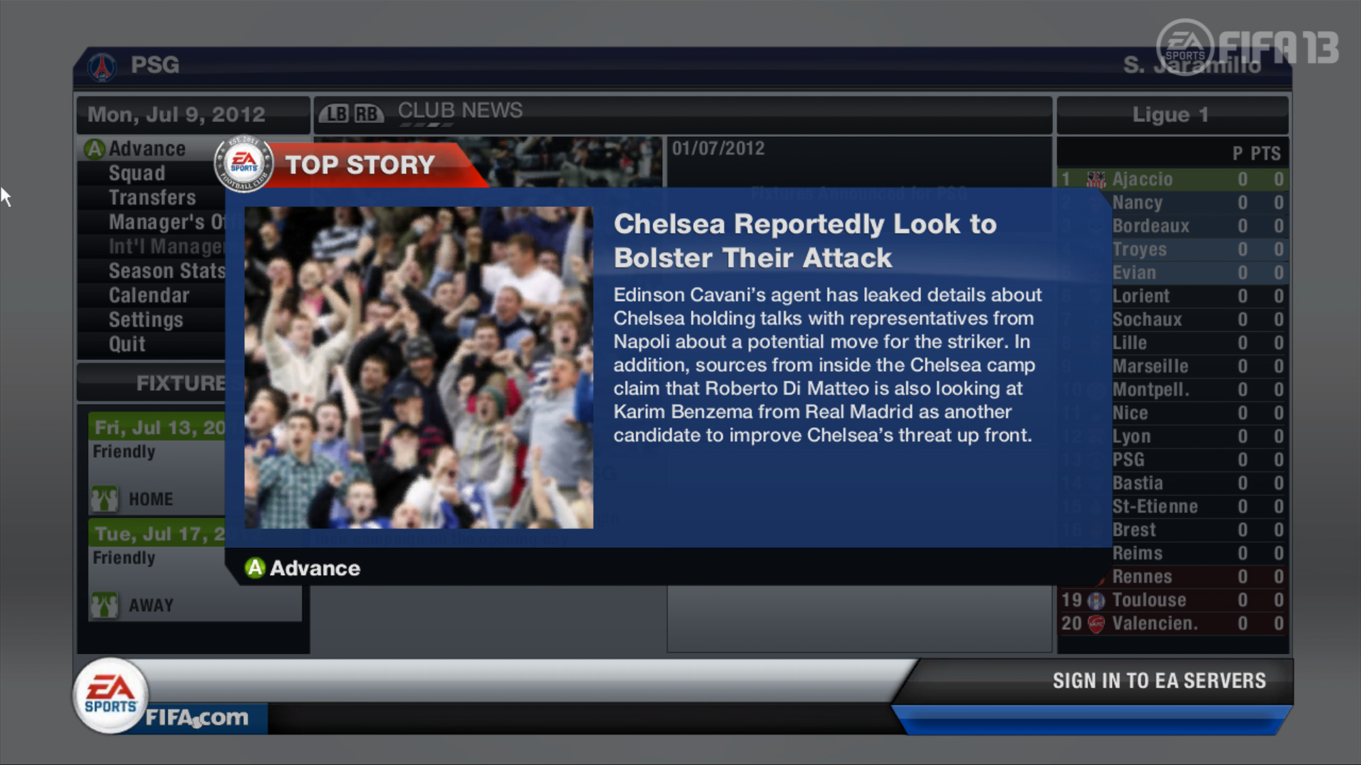 FIFA 13 Career Mode | Team Bolster News Flash