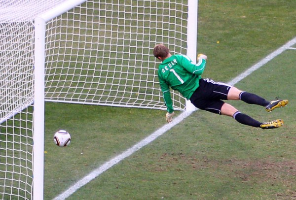 Frank Lampard has a goal disallowed for England against Germany at the 2010 World Cup