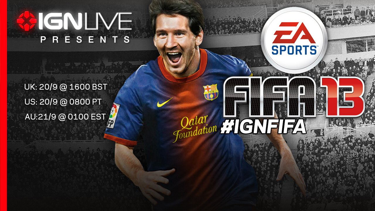 Watch IGN.com's live FIFA 13 event at 4pm UK time today! Live guests include Arsenal and FIFA 13 UK cover star Alex Oxlade-Chamberlain and UK band The Enemy