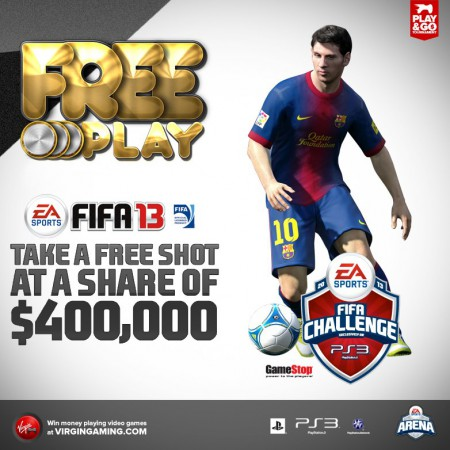 Right now and for the rest of the weekend: FREE entry into the $400,000 FIFA 13 challenge on PS3!