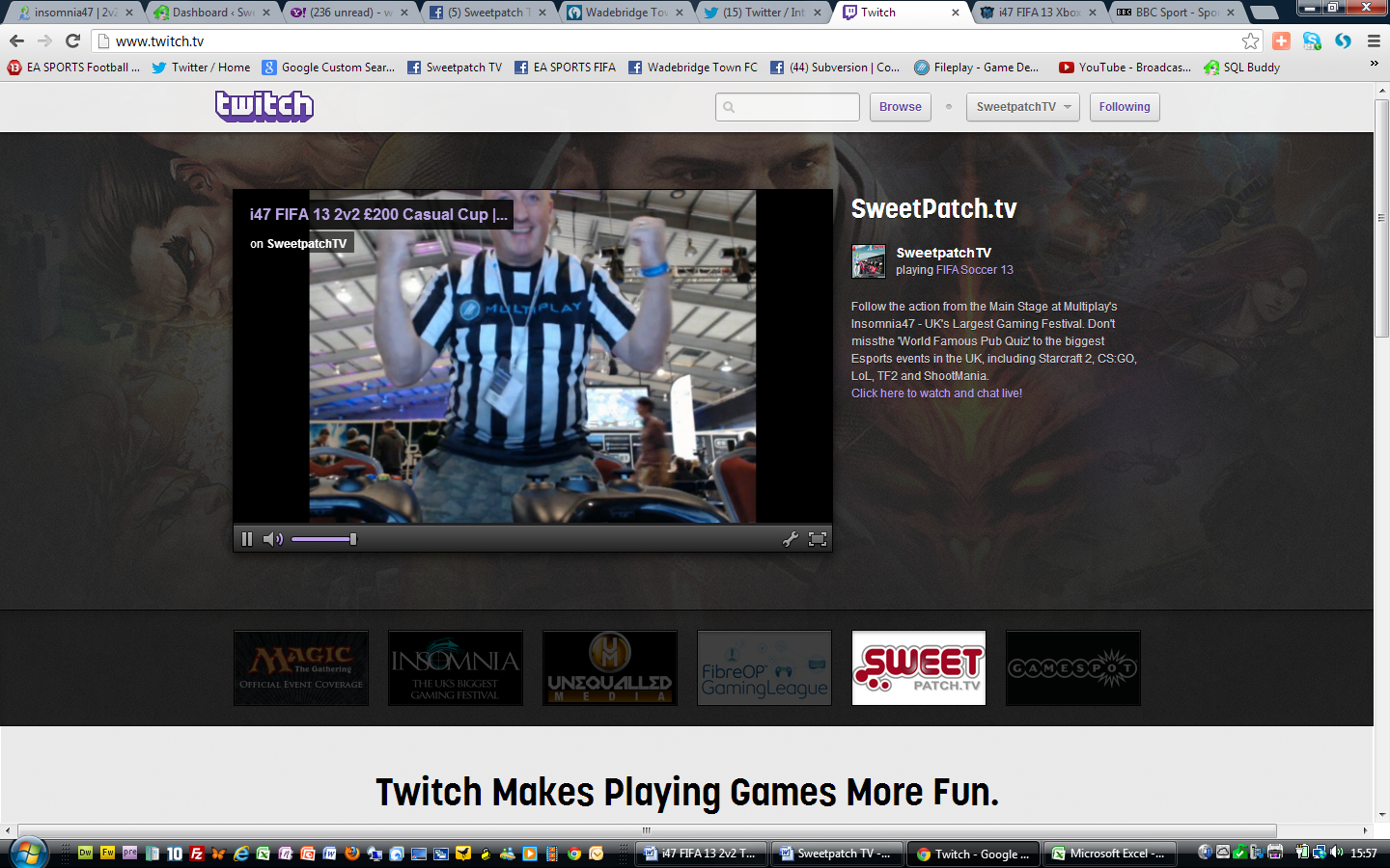 During FIFA 13 2v2 £200 Casual Cup at insomnia47 we were featured on the homepage as a recommended channel!