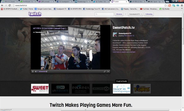 We were absolutely stunned and delighted that during the FIFA 13 2v2 £200 Casual Cup at insomnia47 we were featured on the homepage of Twitch.TV as a recommended channel!