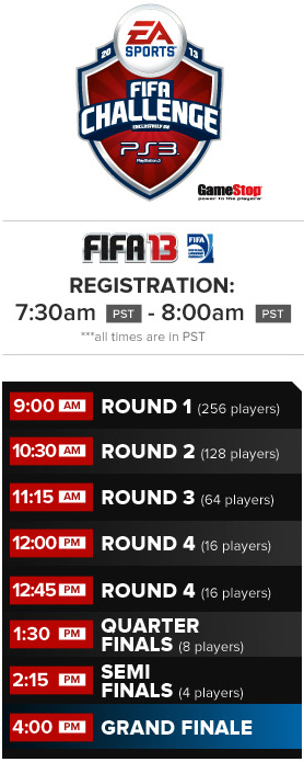 Timings for the EA SPORTS FIFA Challenge Series