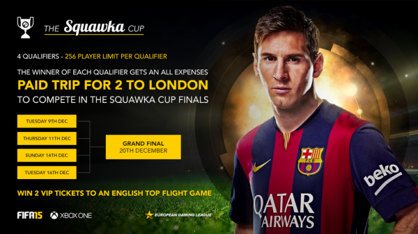 Enter the Squawka Cup FIFA 15 tournament to be in chance of winning 2 VIP tickets to an English top flight game in January 2015.