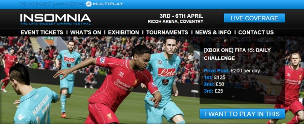 Insomnia54 will be hosting free to play FIFA 15 tournaments every day, each with £200 up for grabs.